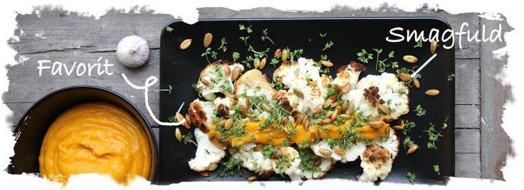SalatTøsen  » Bagt blomkål m. puré af græskar og hvidløg