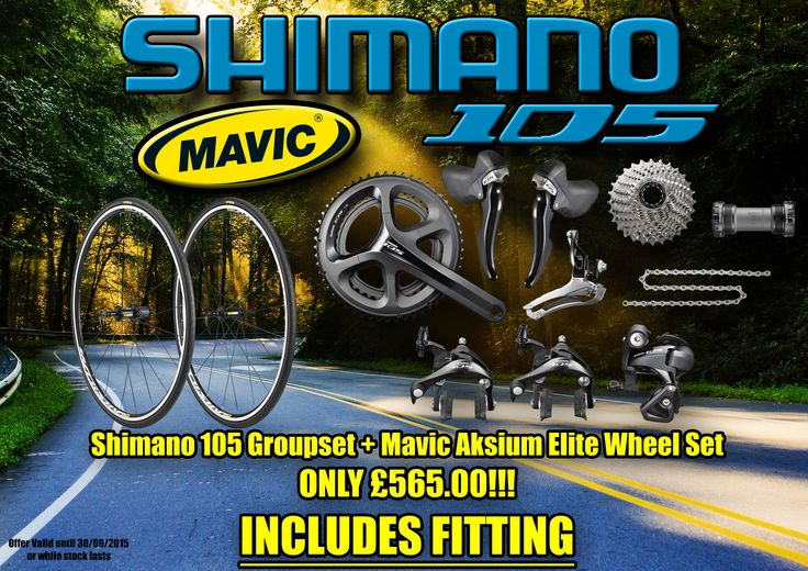 Shimano 105 Groupset and Mavic Aksium Elite Wheel set only £565.00 fitted.  Mavic Wheelset includes tyres+tubes+rim tape. 105 Groupset (5800) is a full RETAIL package including all the cables.