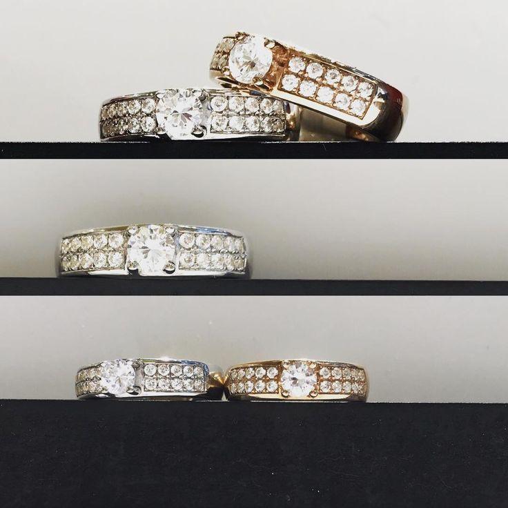 Verlobungsringe in 750 #weissgold und in 585 #rotgold mit jeweils 21 #diamanten bestückt. #juwelierluegundhessenberg in #frankfurt #katharinenpforte 6 an der #hauptwache. #brilliant #verlobungsring #goldschmiedestichnoth #diamonds #fine