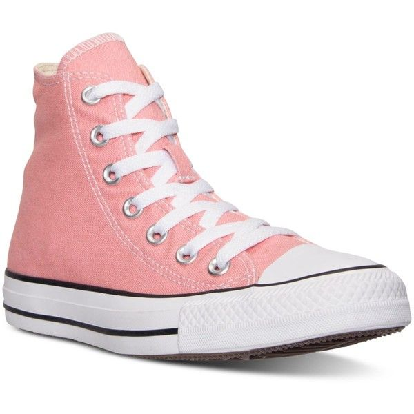 Converse Women's Chuck Taylor Hi Casual Sneakers from Finish Line ($60) ❤ liked on Polyvore featuring shoes, sneakers, converse, pink, daybreak pink, vintage sneakers, converse sneakers, pink shoes, vintage footwear and pink sneakers