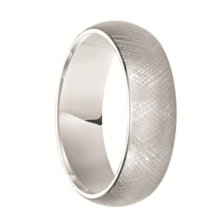 Triton Rings - EDAN Domed White Tungsten Carbide Ring with Florentine Finish - 7 mm