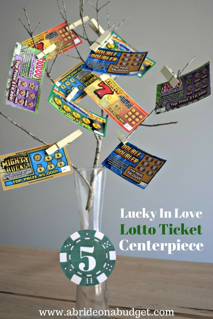 Planning a lucky in love themed wedding? Or maybe just love gambling? Put together these lucky in love lotto ticket centerpieces, plus get a free printable for the poker chip table numbers from www.abrideonabudget.com.
