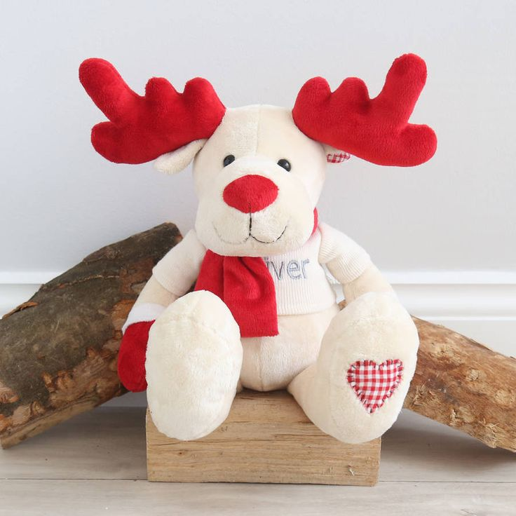 Personalised Red And Ivory Reindeer Toy