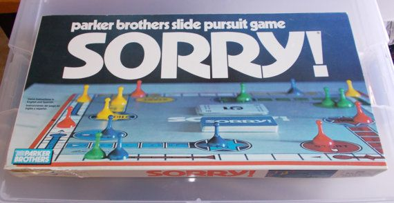Vintage Sorry Board Game Parker Brothers 1989 by ShopHereVintage
