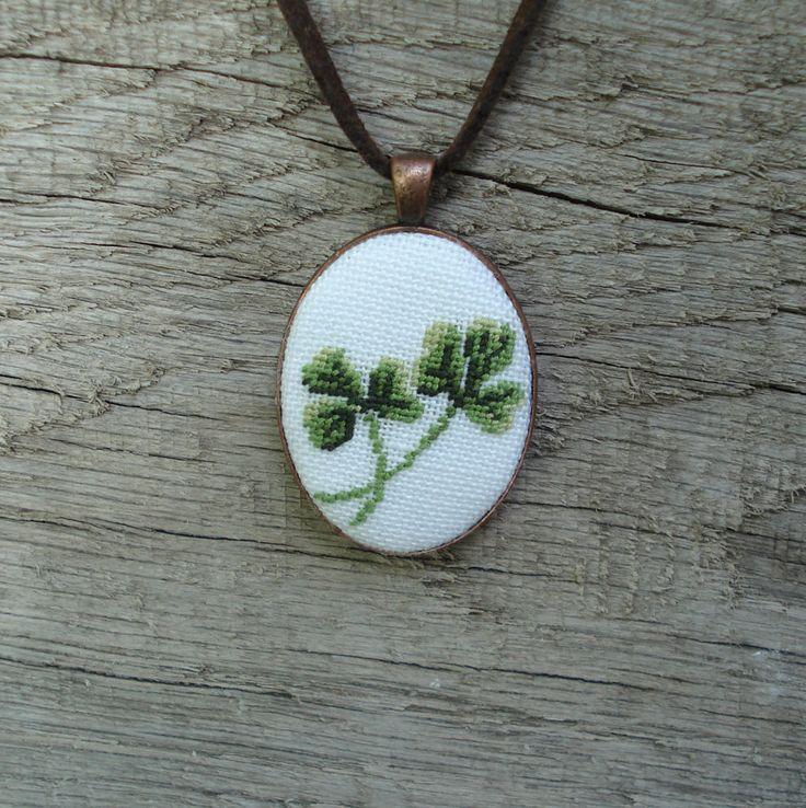 Shamrock pendant Hand embroidery pendant Shamrock necklace Cross stitch necklace Cross stitch jewelry Irish shamrock by UAtelier on Etsy https://www.etsy.com/listing/247824795/shamrock-pendant-hand-embroidery-pendant