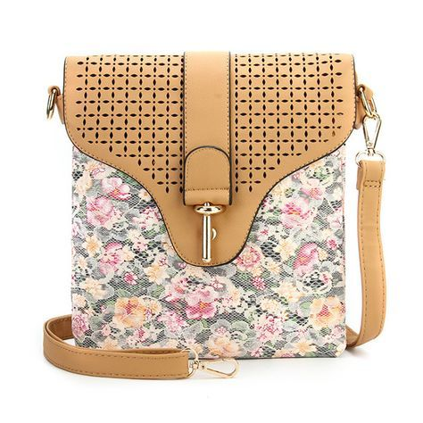 Women Fl Printing Lace Hollow Out Messenger Bags S Small Shoulder Crossbody