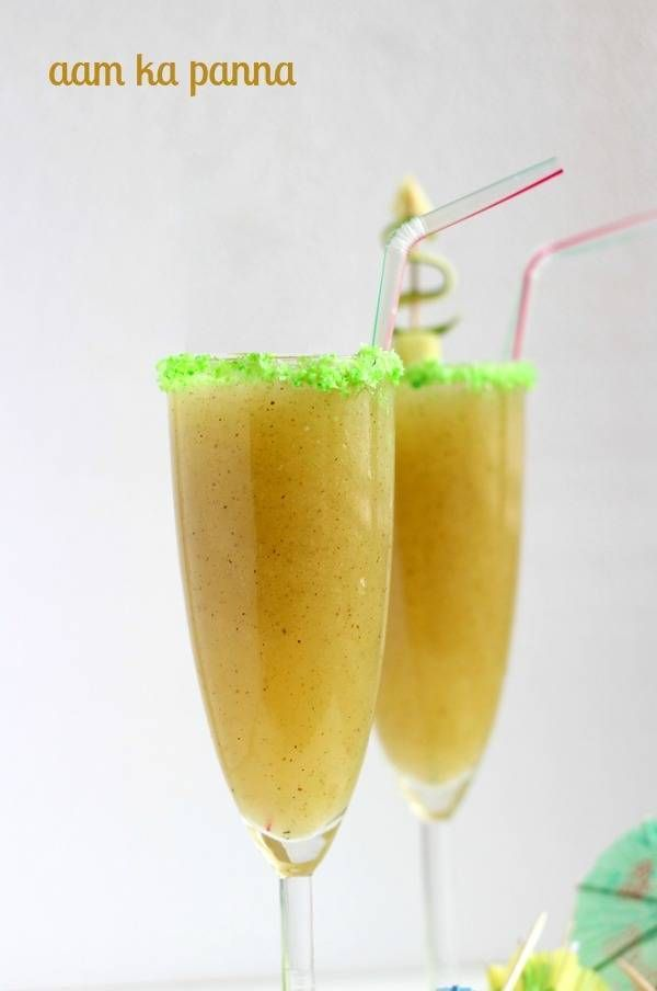 Roasted Aam Panna Recipe - A delicious indian aam panna recipe of roasted raw mango & mint leaves. Tasty summer drink aam panna recipe.