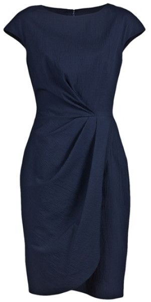 Lela Rose Blue Pebble Cap Sheath Dress