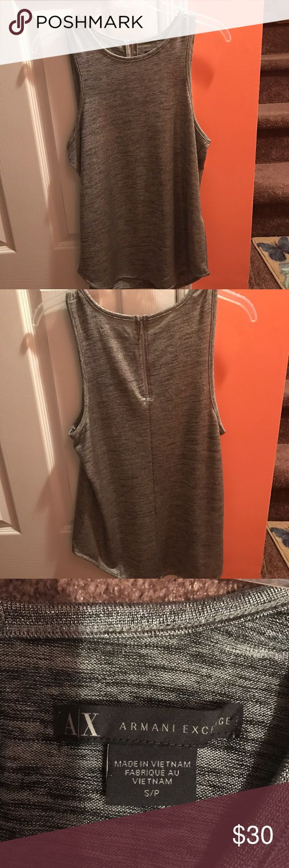Armani exchange tank top Great condition! Worn once! Armani tank top. Flowy fitted.. the color is grey/silverfish with a metallic shimmer! No trades.. any questions please ask! A/X Armani Exchange Tops Tank Tops