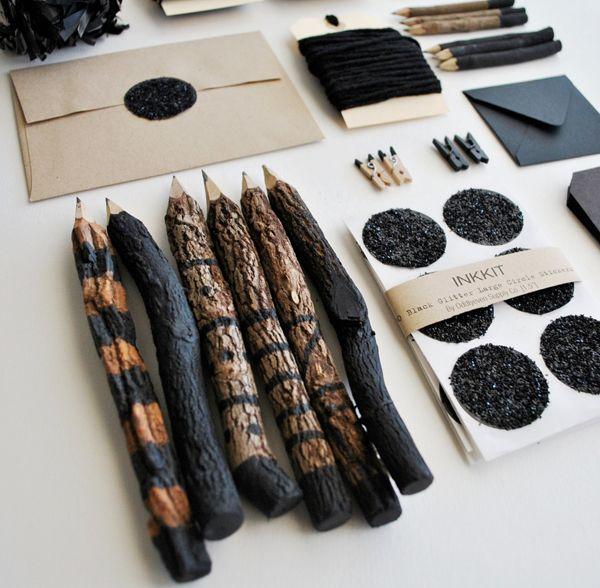 Handmade Stationary Supply by INKKIT. Raw Handpainted Pencils