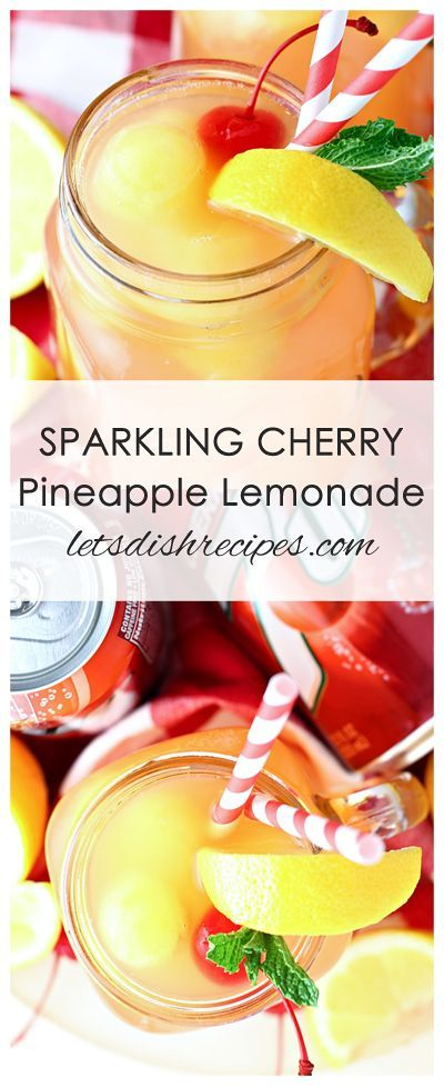 Sparkling Cherry Pineapple Lemonade Recipe | Cherry 7UP is combined with frozen pineapple juice and lemonade in this refreshing drink!