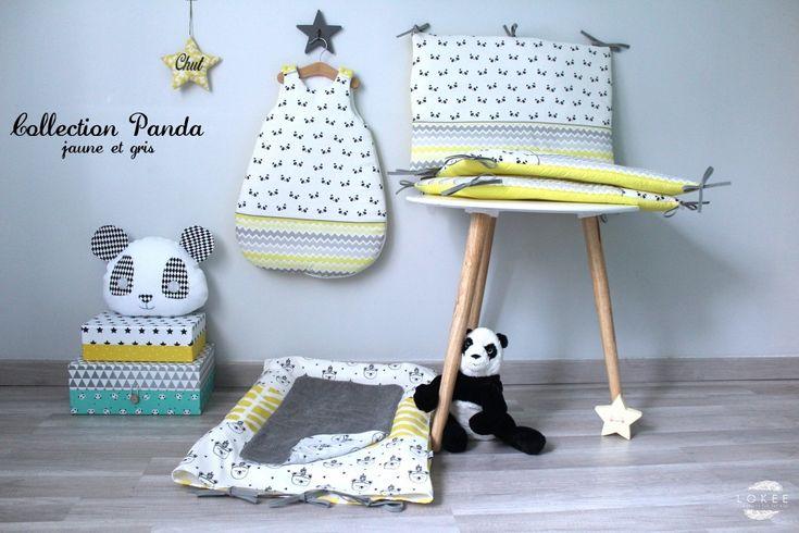 collection panda chambre b b panda jaune et gris tour de lit et gigoteuse pinterest pandas. Black Bedroom Furniture Sets. Home Design Ideas