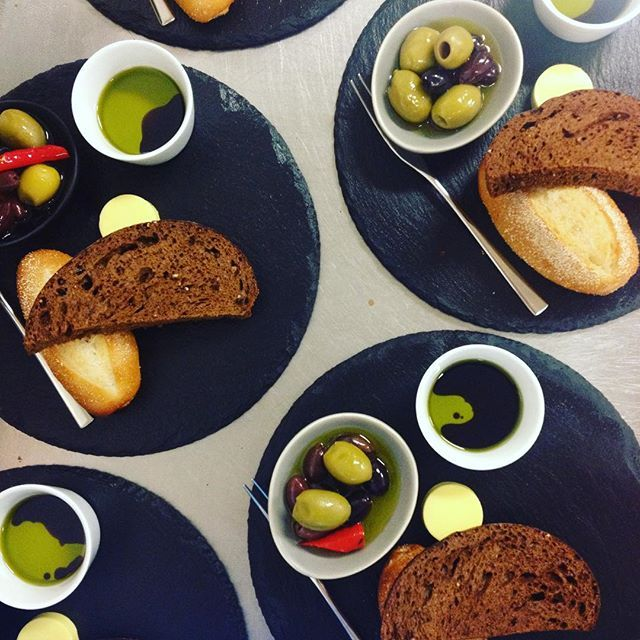 1st course, freshly baked bread with house preserved olives. Ronald McDonald House Charity Dinner  #RMHSI #supperclub #wigrambase #christchurchnz