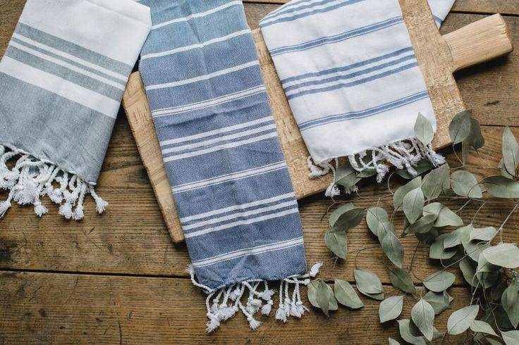 Our Turkish Tea Towels come in three great colors: Grey, Indigo and White! They're perfect to add into a housewarming...