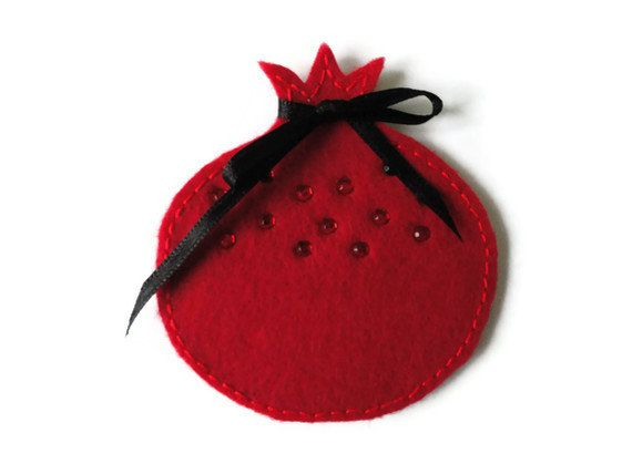 Felt brooch-brooch felt-felt pin-felt pomegranate  brooch-pomegranate  brooch-red felfelt jewelry-felt accessories-red pomegranate  brooch. $11.00, via Etsy.