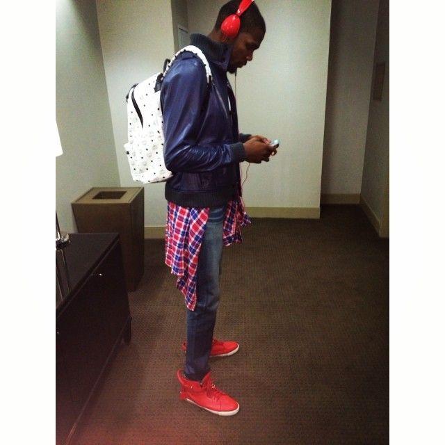 Kevin Durant wears MCM Backpack