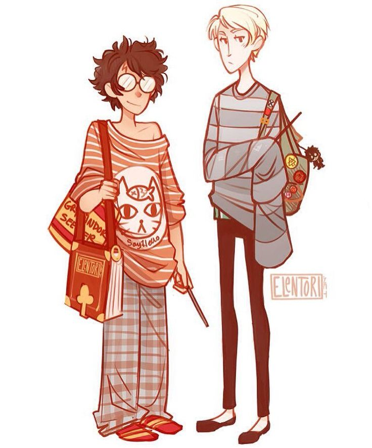 Did that 'draw your fav in what you're currently wearing' thing. So Harry is in what I wear around the apartment and Draco is in what i'm wearing now. Slytherin in the streets gryffindor in the shees lol. by elentori