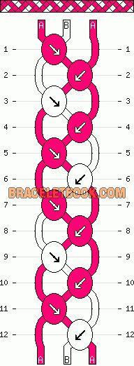 basketweave easy diagonal stripe friendship bracelet pattern three 2 color 3 string