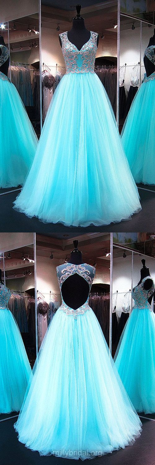 Fabulous Princess V-neck Light Sky Blue Prom Dresses,Tulle Long Formal Dresses,Crystal Detailing Open Back Evening Party Gowns