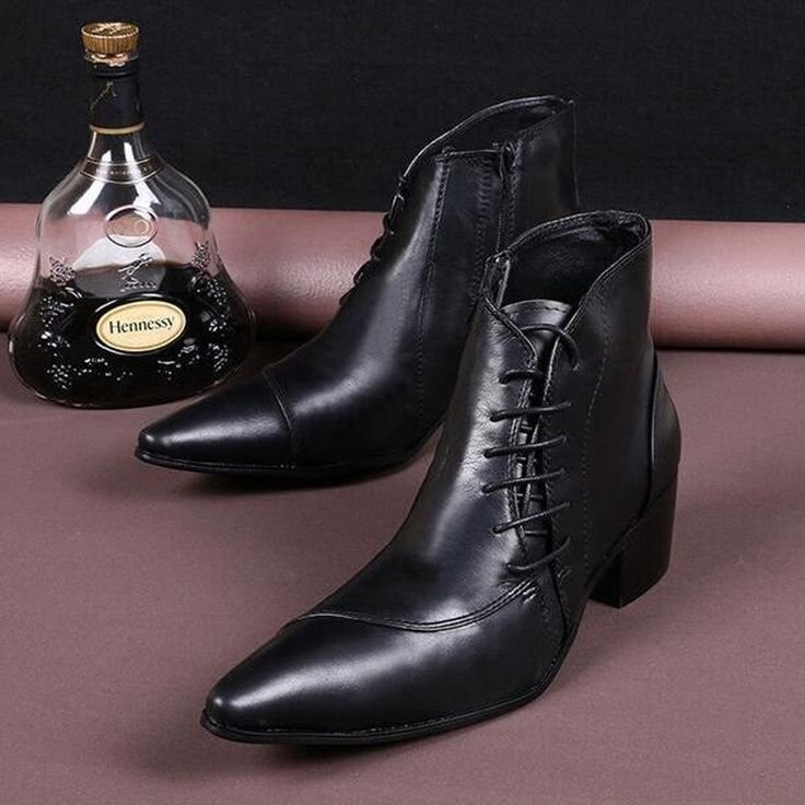 Men Ankle Boots 100% Cow Leather Pointed Toe Martin Boot