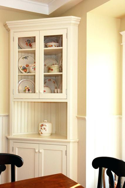 Corner Hutch Traditional White Dining Room Kitchen Canada