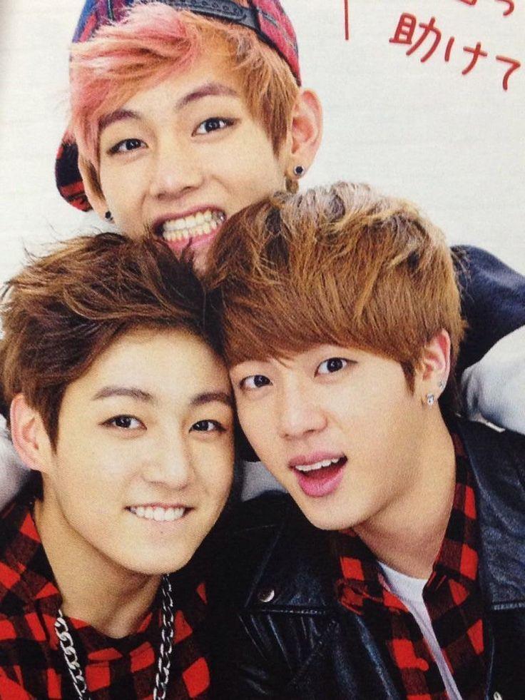 Jungkook, Jin, and V.... cute