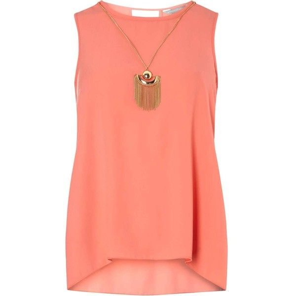 Dorothy Perkins Petite Papaya Sleeveless Shell Top (2.525 RUB) ❤ liked on Polyvore featuring tops, coral, petite, cami tops, red tank top, red tank, cami tank tops and sleeveless tops