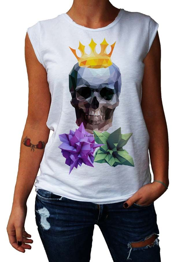 Women's T-Shirt LOW POLY SKULL - Made in Italy - 100% Cotton - SKULL COLLECTION http://www.doubleexcess.com/