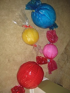 Candyland candy decorations LOVE this!! Balloons and colored paper1