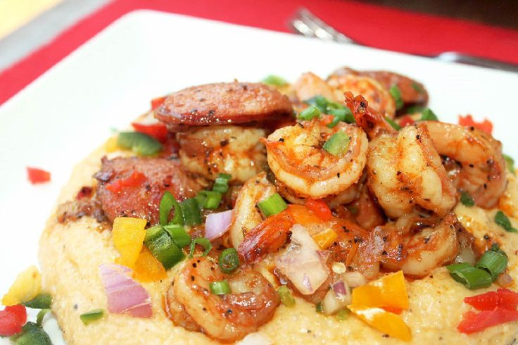 Creole Shrimp and Cheese Grits with Andouille Sausage-Creole Contessa