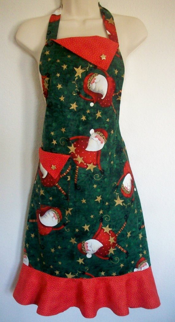 Retro Santa Christmas Holiday Apron by Eclectasie on Etsy, $35.00