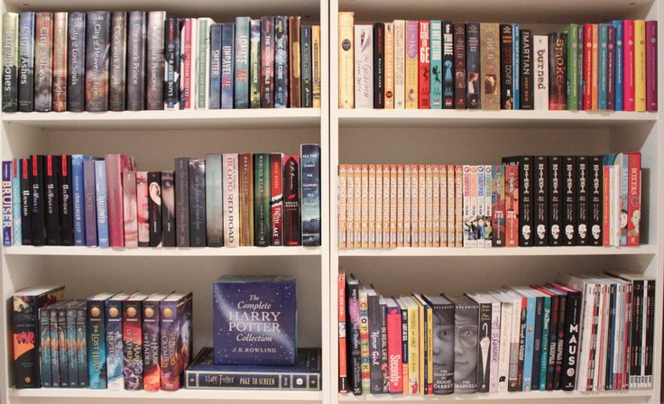 """padfootandprongs07: """" my new bookshelf setup! I have the other two in a different room, and those aren't finished yet, but these are the ones I'll be filming in front of so I thought I'd show them off..."""