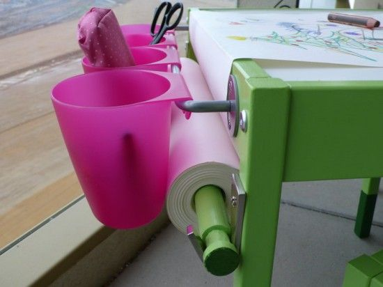 """LÄTT table with two chairs. BYGEL bar and cups. BLECKA hooks. MALA paper-roll. piece of a broomstick. drawer made of canvas, hardboard, hotglue, some screws and two magnetic catches. painting and decoration: white prime coat and semi-gloss acrylic paint (""""leaf green"""" and """"kiwi""""). desktop sealed with silicone-rubber."""