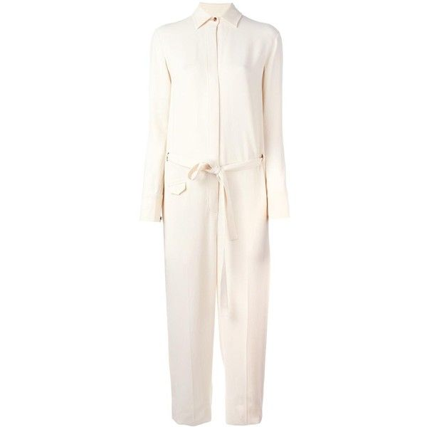 Helmut Lang shirt jumpsuit featuring polyvore, women's fashion, clothing, jumpsuits, white, jump suit, white jump suit, helmut lang and white jumpsuit