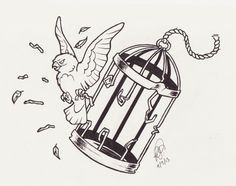 bird breaking out of cage tattoo - Google Search