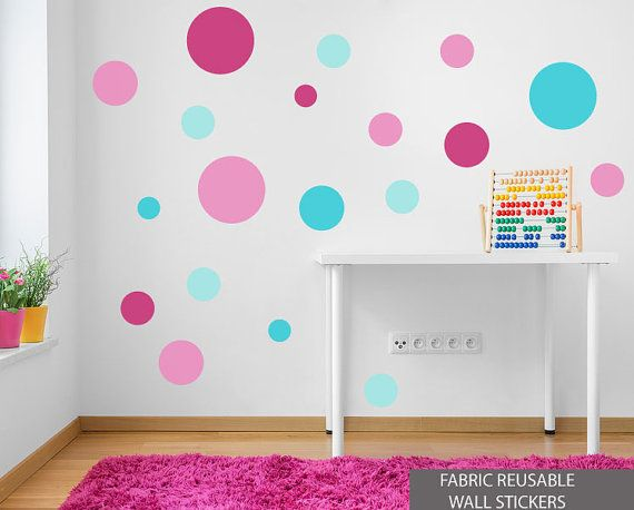 Reusable Spot Stickers Pink Turquoise Polka Dot Fabric Wall Sticker Decals Reusable Set of 19 Circles Pink Aqua Girls Bedroom Baby Room..wall decals for Annie's room?