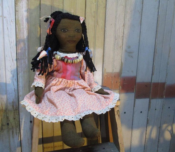 African-American doll handmade folk art doll Black girl doll Black braids Girl cloth Doll vintage calico vintage buttons necklace by funkomavintage on Etsy https://www.etsy.com/ca/listing/480130972/african-american-doll-handmade-folk-art