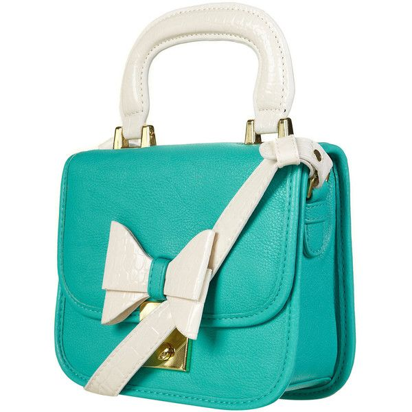 Turquoise Lady Bow Bag found on Polyvore