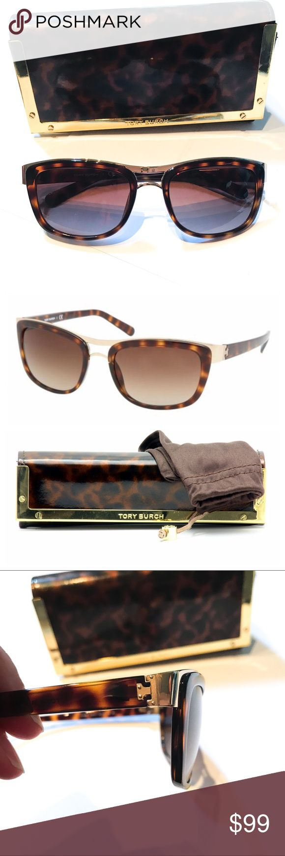 Tory Burch Sunglasses Here are the details for these Authentic Tory Burch Sunglasses:  color gold & brown tortoise, great condition no visible scratches, only worn a few times, comes with brown lense cleaning bag & matching gold/tortoise case (some scratches on case). Original price $200. Message me with questions. Bundle deal: buy 2 or more items from my closet & save 15% Tory Burch Accessories Sunglasses