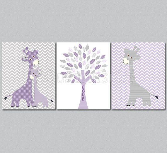 Purple and grey Nursery Art Print Set, Personalized, 8x10, Kids Room Decor - Giraffe family, baby giraffe, chevron, love tree