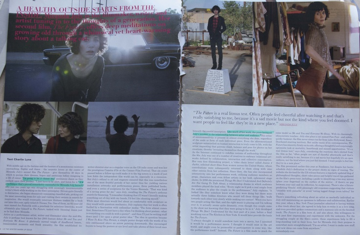 ID Magazine- Artikel over Miranda July- over inspiratie en writersblock.