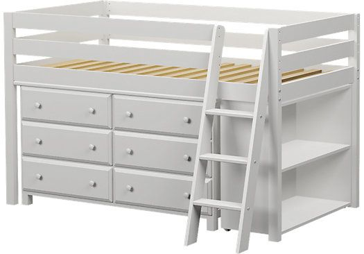 Castello White Twin Jr. Loft Bed with 6 Drawer Dresser