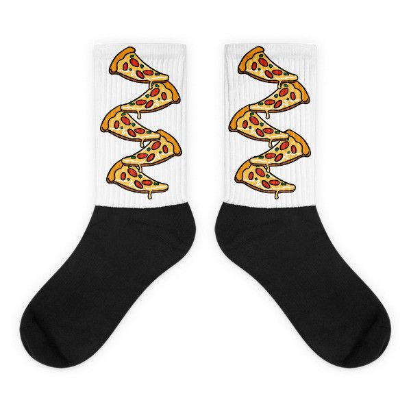 Pizza Stack - Black Foot Socks For Pizza Lovers