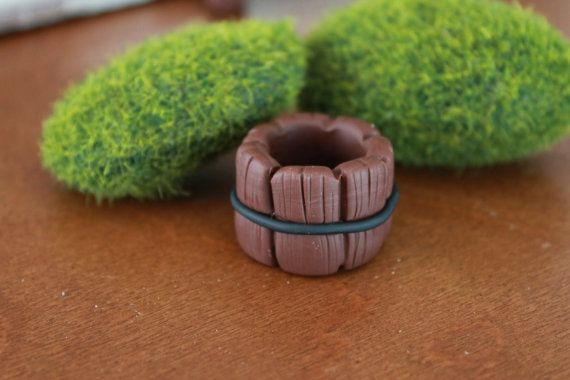 Faux wooden bucket - Polymer Clay -  Terrarium Accessory - Fairy Garden - Miniature Garden - Accent - Made to Order