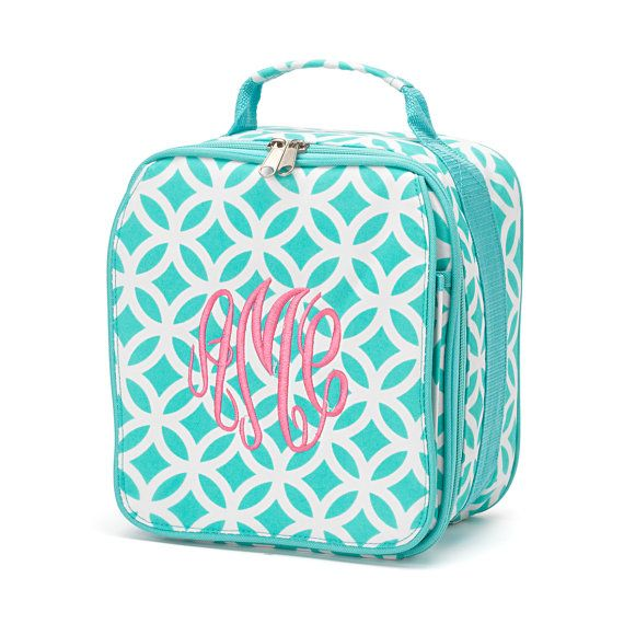 Monogrammed Lunch Bag Pink Black Aqua Circles by DoubleBEmbroidery, $19.95