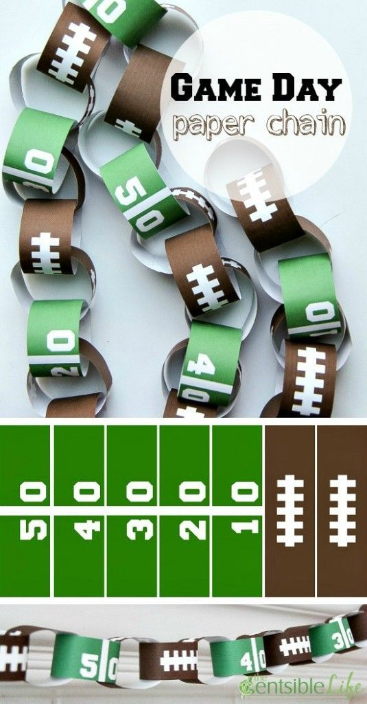 Cute and easy game day decor -free printable football paper chain.