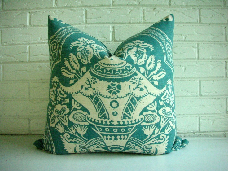 Decorative Toss Pillow Cover - Throw PIllow - Duralee Rowena Aqua - Dusty Teal Cream Ivory - Indian Boho Ethnic Decor 22 x 22. $40.00, via Etsy.