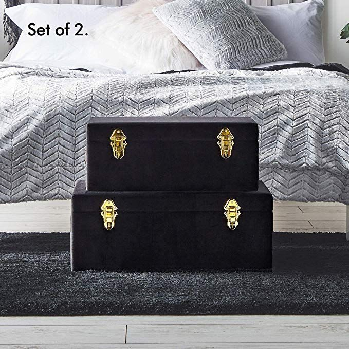 Amazon Com Beautify Velvet Trunks For Bedroom Living Room And College Dorm Black Footlocker Storage T Storage Trunk Storage Trunks Decorative Storage Trunks #storage #trunks #living #room