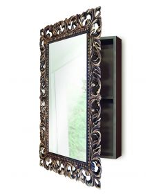 Зеркальный Шкафчик для ванной комнаты Венге Золото