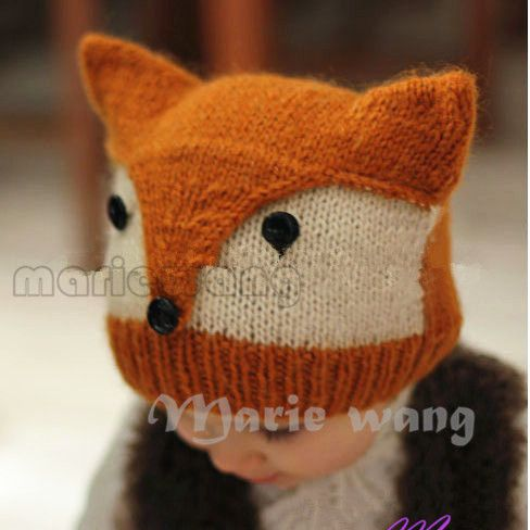 New stlyle  Handmade Knitted Baby Beanie Hat Crochet Pattern Children's Fox Cap Earflap Hat photography props Headwear 5pcs